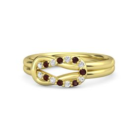 14K Yellow Gold Ring with White Sapphire & Red Garnet