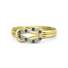 14K Yellow Gold Ring with Blue Sapphire and Blue Topaz