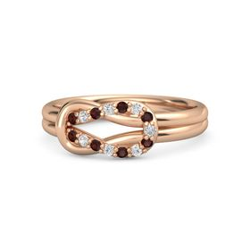 18K Rose Gold Ring with Red Garnet and White Sapphire