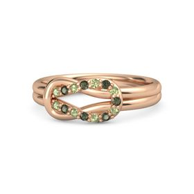 18K Rose Gold Ring with Peridot and Green Tourmaline