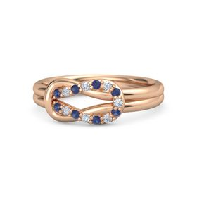 18K Rose Gold Ring with Blue Sapphire and Diamond
