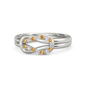 18K White Gold Ring with Citrine and White Sapphire
