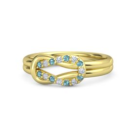 18K Yellow Gold Ring with London Blue Topaz and Diamond
