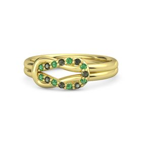 18K Yellow Gold Ring with Emerald and Green Tourmaline