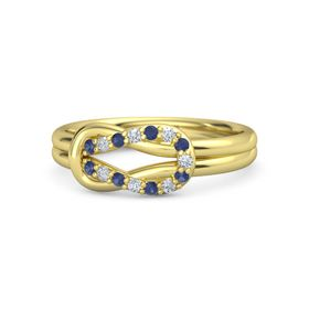 18K Yellow Gold Ring with Blue Sapphire and Diamond
