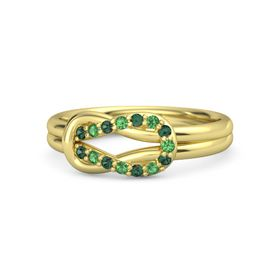 18K Yellow Gold Ring with Alexandrite and Emerald