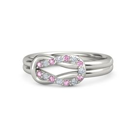 Palladium Ring with Pink Sapphire and Diamond
