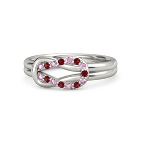 Palladium Ring with Pink Sapphire & Ruby