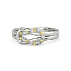 Palladium Ring with Yellow Sapphire & Diamond