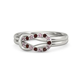 Platinum Ring with Rhodolite Garnet and Red Garnet
