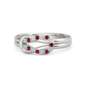 Sterling Silver Ring with Diamond & Ruby