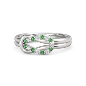 Sterling Silver Ring with Emerald & White Sapphire