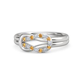 Sterling Silver Ring with Citrine and Diamond