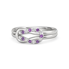 Sterling Silver Ring with White Sapphire & Amethyst