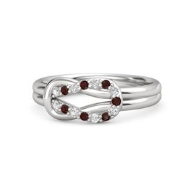 Sterling Silver Ring with White Sapphire & Red Garnet