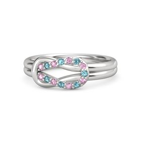 Sterling Silver Ring with Pink Sapphire & London Blue Topaz