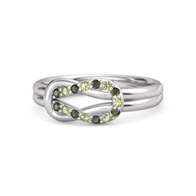 Sterling Silver Ring with Green Tourmaline and Peridot