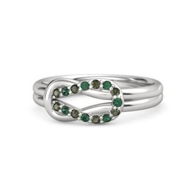 Sterling Silver Ring with Green Tourmaline and Alexandrite