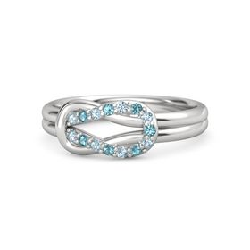 Sterling Silver Ring with Aquamarine & London Blue Topaz
