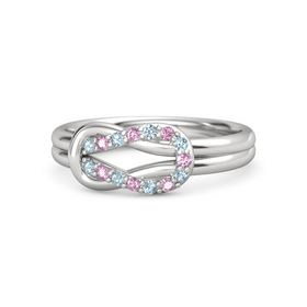 Sterling Silver Ring with Aquamarine and Pink Sapphire