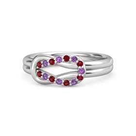 Sterling Silver Ring with Ruby & Amethyst