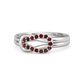 Sterling Silver Ring with Ruby & Red Garnet