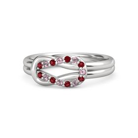 Sterling Silver Ring with Ruby & Rhodolite Garnet