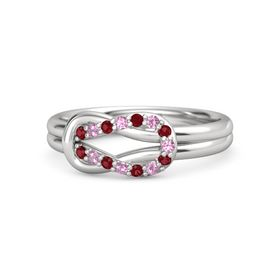 Sterling Silver Ring with Ruby and Pink Tourmaline