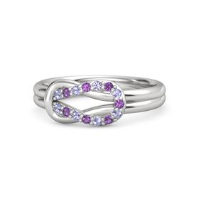 Sterling Silver Ring with Tanzanite & Amethyst