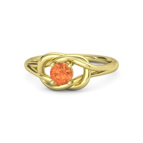 Round Fire Opal 14K Yellow Gold Ring