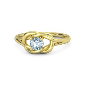 Round Aquamarine 14K Yellow Gold Ring