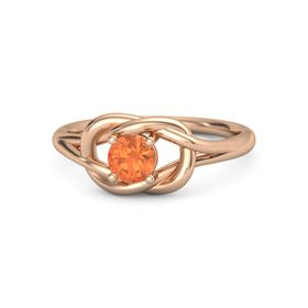 Round Fire Opal 18K Rose Gold Ring