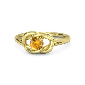 Round Citrine 18K Yellow Gold Ring