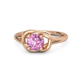 Round Pink Sapphire 14K Rose Gold Ring