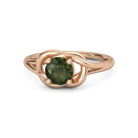 Round Green Tourmaline 14K Rose Gold Ring