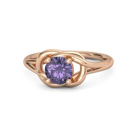 Round Iolite 18K Rose Gold Ring