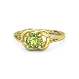 Round Peridot 18K Yellow Gold Ring