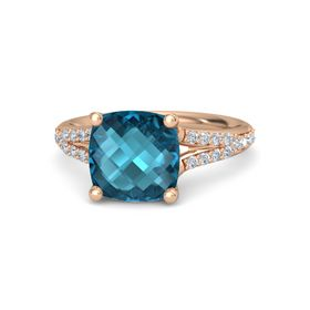 Checkerboard Cushion Double-sided London Blue Topaz 14K Rose Gold Ring with Diamond