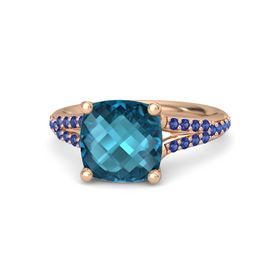 Checkerboard Cushion Double-sided London Blue Topaz 14K Rose Gold Ring with Blue Sapphire