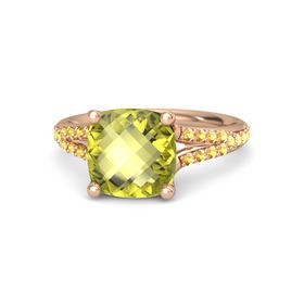 Checkerboard Cushion Double-sided Lemon Quartz 14K Rose Gold Ring with Citrine