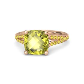 Checkerboard Cushion Double-sided Lemon Quartz 14K Rose Gold Ring with Yellow Sapphire