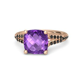 Checkerboard Cushion Double-sided Amethyst 14K Rose Gold Ring with Black Diamond