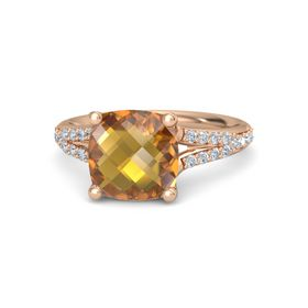 Checkerboard Cushion Double-sided Citrine 14K Rose Gold Ring with Diamond