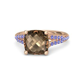 Checkerboard Cushion Double-sided Smoky Quartz 14K Rose Gold Ring with Tanzanite