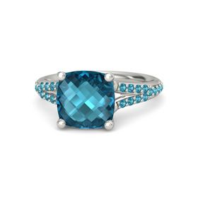Checkerboard Cushion Double-sided London Blue Topaz 14K White Gold Ring with London Blue Topaz