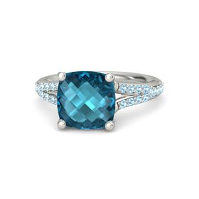 Checkerboard Cushion Double-sided London Blue Topaz 14K White Gold Ring with Aquamarine