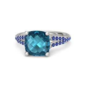 Checkerboard Cushion Double-sided London Blue Topaz 14K White Gold Ring with Blue Sapphire