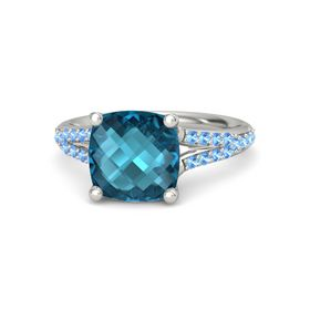 Checkerboard Cushion Double-sided London Blue Topaz 14K White Gold Ring with Blue Topaz