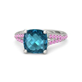 Checkerboard Cushion Double-sided London Blue Topaz 14K White Gold Ring with Pink Tourmaline