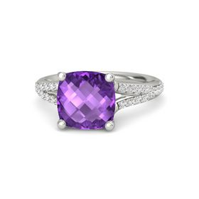 Checkerboard Cushion Double-sided Amethyst 14K White Gold Ring with White Sapphire